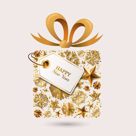 ribbon banner: New Year vector greeting card template. Gift box with 3d gold stars, snowflakes, bow ribbon and tag. Winter holiday golden illustration. Design for for banner, party invitation, flyer for gift shop.