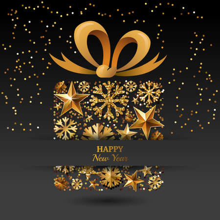 ribbon banner: New Year vector greeting card template. Gift box with 3d gold stars, snowflakes and bow ribbon. Winter holiday golden illustration. Design for for banner, party invitation, flyer for gift shop. Illustration