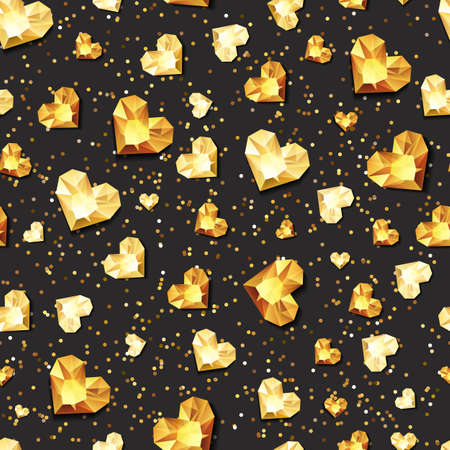 diamonds on black: Vector seamless black glossy background with 3d gold heart diamonds, gems, jewels. Golden holiday texture for Valentines greeting card, banner, poster, flyer, party invitation, jewelry gift shop.