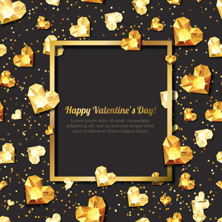 gold heart: Valentines day vector illustration. 3d gold heart diamonds, gems, jewels. with square frame with place for text. Design for greeting card, banner, poster, flyer, party invitation, jewelry gift shop.