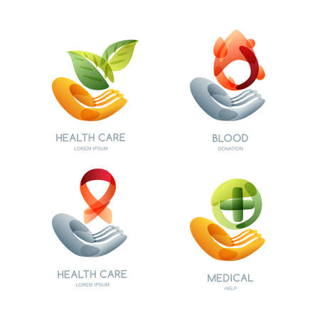 voluntary: Set of charity and health vector, icon, emblem design. Human hand holding leaves, blood drop, ribbon cancer awareness, cross. Concept for voluntary, non profit organization or healthcare. Illustration