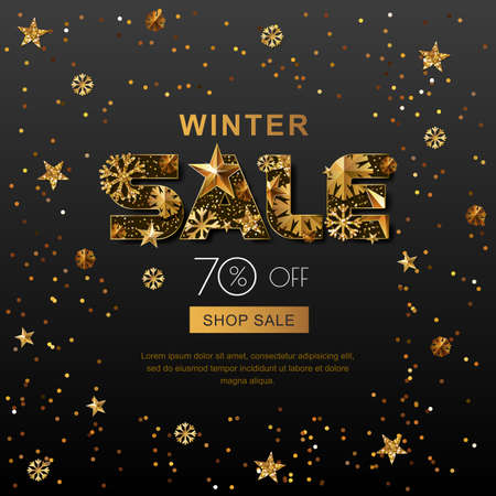 advertisements: Winter sale banners with 3d gold stars and snowflakes. Vector winter holidays poster, golden black background. Layout for discount labels, flyers and shopping.