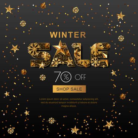 Winter verkoop banners met 3d gouden sterren en sneeuwvlokken. Vector winter vakantie poster, gouden zwarte achtergrond. Lay-out voor korting etiketten, flyers en winkelen. Stockfoto - 68445150