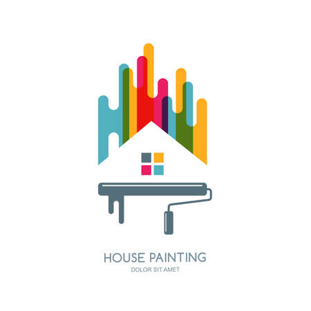 building color: label or emblem design. House painting service, decor and repair multi color isolated icon. Concept for home decoration, building, house construction and staining. Illustration