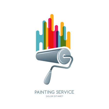 label or emblem design element. Paint roller and multi color paints isolated icon. Concept for home decoration, building and staining, House painting service, decor and repair.