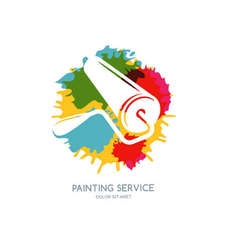 staining: label, icon or emblem design element. Paint roller on watercolor paints splash background. Concept for home decoration, building and staining, House painting service, decor and repair. Illustration