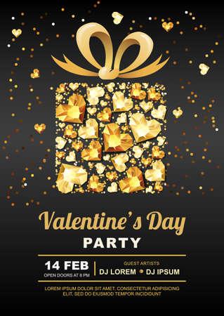 Valentijnsdag partij vector poster ontwerp sjabloon. Cadeau doos met 3d goud hart edelstenen. Gouden vakantie banner zwarte achtergrond met diamanten, juwelen. Concept voor Valentines flyer of feest uitnodiging.