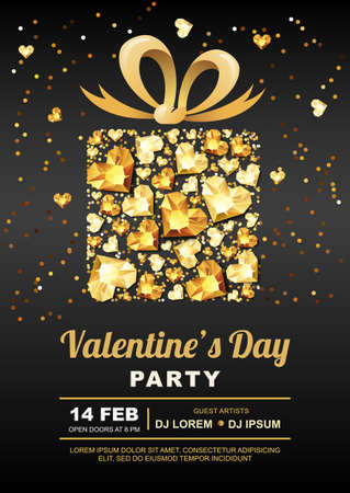 diamonds on black: Valentines day party vector poster design template. Gift box with 3d gold heart gems. Golden holiday banner black background with diamonds, jewels. Concept for Valentines flyer or party invitation. Illustration