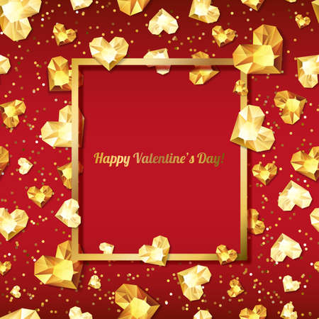 diamond background: Valentines day vector illustration. 3d gold heart diamonds, gems, jewels. with square frame with place for text. Design for greeting card, banner, poster, flyer, party invitation, jewelry gift shop.