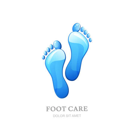 Womens voetverzorging vector logo, label design. Vrouwelijke zool met schoon water textuur. Concept voor schoonheidssalon, pedicure cosmetica, organische lichaamsverzorging en spa.