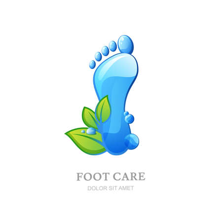 foot care: Womens foot care vector logo, label design. Female sole with clean water texture and green leaves. Concept for beauty salon, pedicure cosmetics, organic body care and spa.