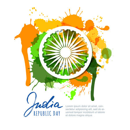 India Republic Day. India flag colors watercolor splashes, calligraphy lettering and ashoka wheel.