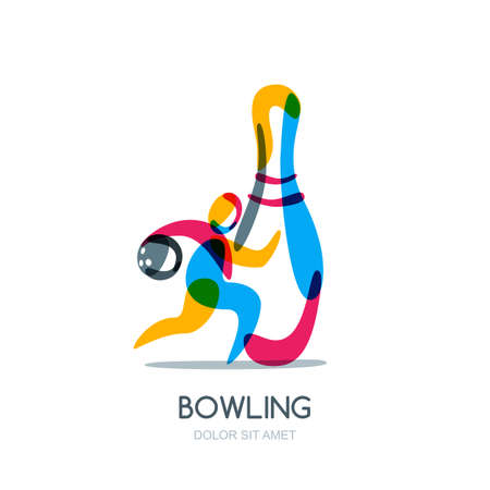Bowling-spel, pictogram of embleemontwerp. Lopende mens met in hand bowlingbal en veelkleurige speld. Sport man geïsoleerde overlappende illustratie.