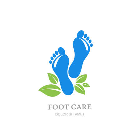 foot care: Women foot care label design. Female sole and green leaves. Concept for beauty salon, pedicure cosmetics, organic body care. Illustration