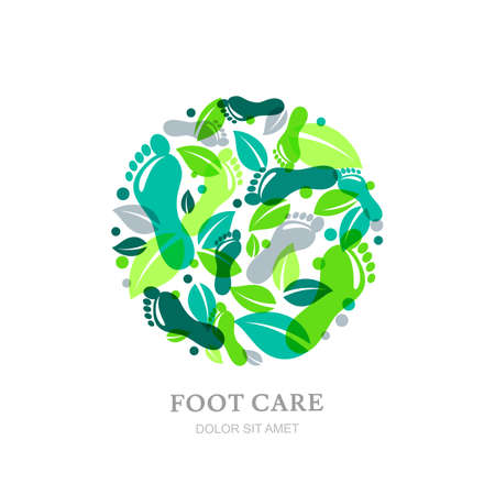 foot care: Foot care label or emblem design elements. Sole, footprint and green leaves in circle shape. Concept for beauty salon, pedicure cosmetics, organic body and health care. Illustration