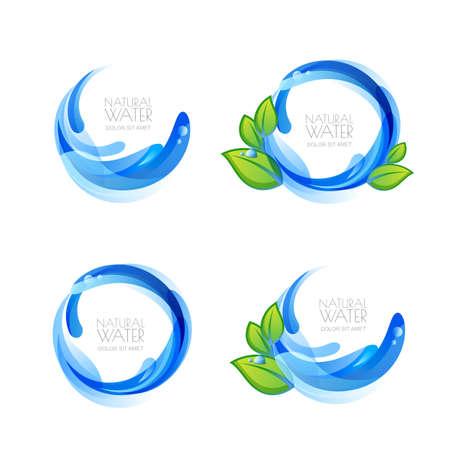 Set van vector logo, pictogram design elementen met natuurlijke schone water druppels en groene bladeren. Abstract blauw water splash frame. Mineral aqua label. Waterdruppels en vloeibare achtergrond.