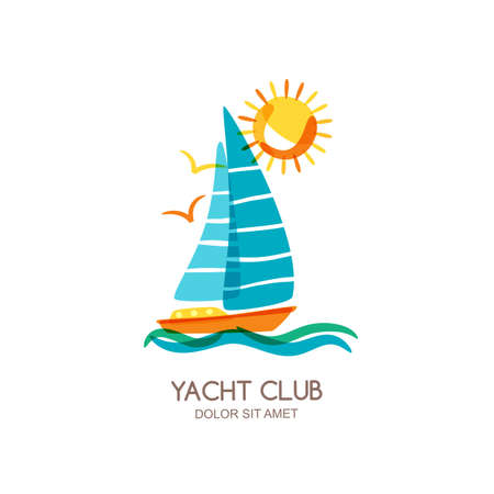 yacht: Vector yacht club logo design template. Sailing boat in the sea and sun. Summer vacation isolated doodle illustration. Concept for travel agency, boat rent, cruise, tropical and beach resort. Illustration