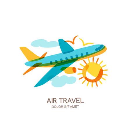 logo voyage: plan de Vector et le logo de Voyage de l'air, des éléments de conception emblème. Multicolor voler avion dans le ciel, isolé doodle illustration. Concept pour les vacances d'été, agence de Voyage et de vente des billets. Illustration