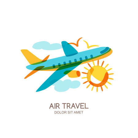 air travel: Vector plane and air travel logo, emblem design elements. Multicolor flying airplane in the sky, isolated doodle illustration. Concept for summer vacation, travel agency and sale tickets.