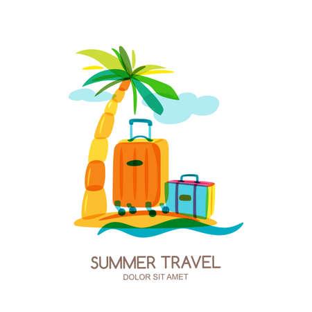 Reizen en toerisme concept. Veelkleurig tropisch eilandlandschap met palm en bagage koffer. Vectorkrabbel geïsoleerde illustratie. Trendy platte ontwerp voor zomervakantie. Stockfoto - 70223343