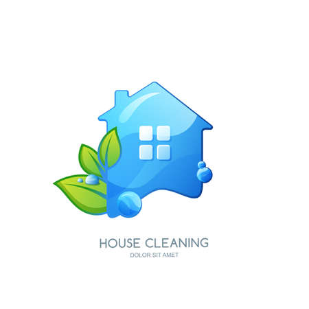 clean home: Cleaning service vector logo, emblem or icon design template. Clean house isolated illustration. Home with clean water texture and green leaves.