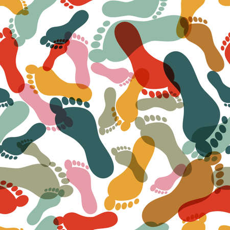 Vector seamless pattern with human footprint. Abstract multicolor overlapping background with prints of foot. Illustration