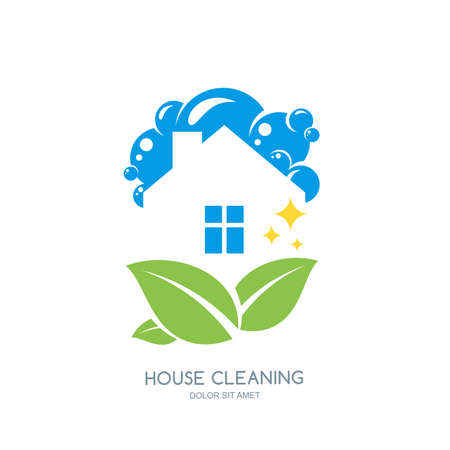 clean home: Cleaning service vector logo, emblem or icon design template. Clean house and green leaves isolated illustration. Home with lather, soap foam and water drops. Illustration