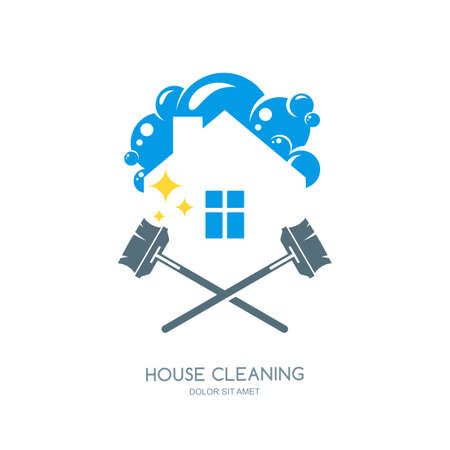 Cleaning service vector logo, emblem or icon design template. Clean house and mops isolated illustration. Home with lather, soap foam and water drops. Illustration
