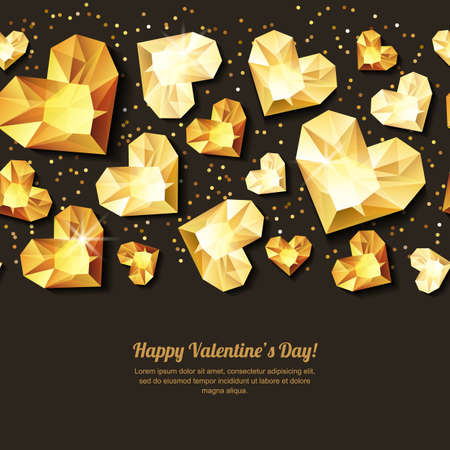 diamonds on black: Valentines day vector horizontal black background with 3d gold heart diamonds, gems, jewels. Golden holiday texture for Valentines greeting card, banner, poster, flyer, party invitation.