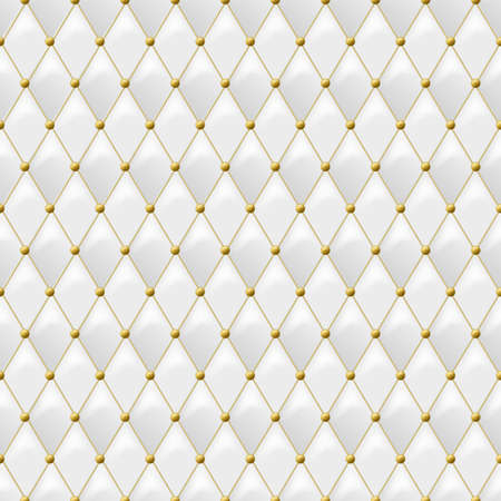 luxury furniture: Seamless white leather texture with gold metal details. Vector leather background with golden buttons. Luxury textile design, interior and furniture decoration concept.