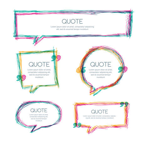textbox: Vector set of quote blank template. Multicolor overlapping banner design. Hand drawn sketch frames. Blank speech bubbles for text information and print design.