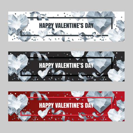 Conjunto de día de San Valentín vector banners horizontales con diamantes de plata corazón 3d, gemas, joyas. Fondo de plata del día de fiesta. Diseño para el cartel, el aviador, la invitación del partido, los fondos de la tela.