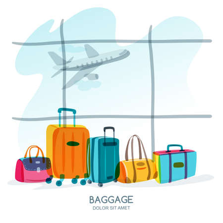 baggage: Travel and tourism concept. Multicolor luggage, suitcase, bag at the airport terminal window and flying plane. Vector doodle isolated illustration. Trendy flat design for summer vacation.