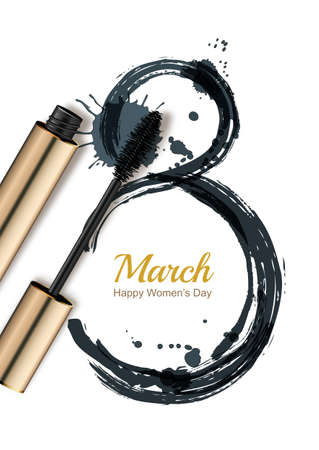 8 March vector greeting card, International Womens Day. Mascara and watercolor number eight, isolated on white background. Concept for holiday banner, poster, background with place for text.