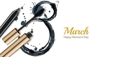8 de marzo Cartelera de felicitación del vector, Día Internacional de la Mujer. Rimel, lápiz y acuarela número ocho, aislado sobre fondo blanco. Concepto para la bandera del día de fiesta, cartel, de fondo con el lugar de texto. Foto de archivo - 71545428