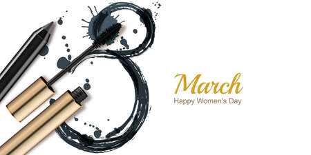 copy text: 8 March vector greeting card, International Womens Day. Mascara, pencil and watercolor number eight, isolated on white background. Concept for holiday banner, poster, background with place for text.