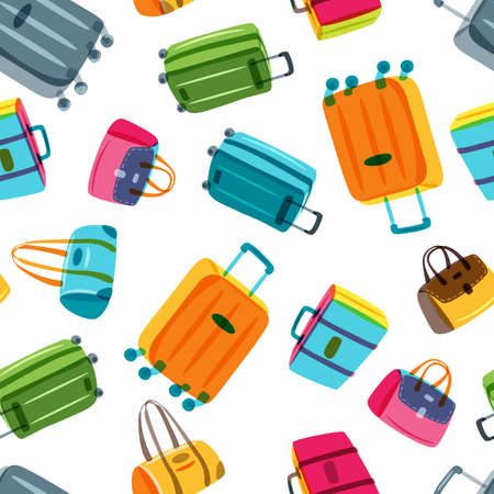multiplicar: Vector seamless pattern with multicolor luggage, suitcase, bags. Hand drawn doodle illustration. Trendy design for fashion textile print, wrapping, summer travel and tourism background.