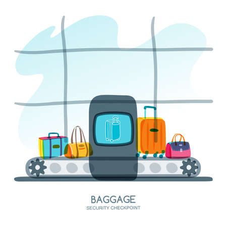 baggage: Baggage security checkpoint in airport terminal. Vector hand drawn illustration. Luggage, suitcase, bags on scanner conveyor belt. Luggage check, airport security, travel and tourism concept.