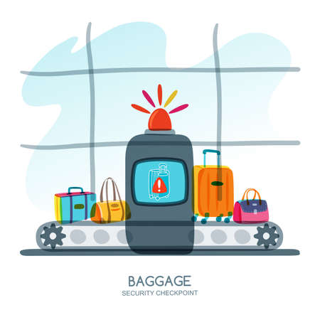 warns: Baggage security checkpoint in airport terminal. Red alarm siren on scanner warns of dangerous baggage. Vector hand drawn illustration. Luggage check, airport security concept.