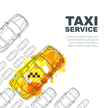 on white: taxi service banner,  poster design template. Call taxi concept. Taxi yellow watercolor painted cab and outline cars isolated on white background.