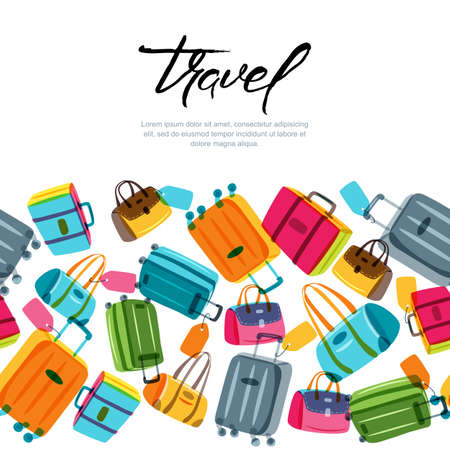 Vector seamless horizontal background with multicolor luggage, suitcase, bags and calligraphy lettering. Hand drawn doodle illustration. Trendy design concept for summer travel and tourism background