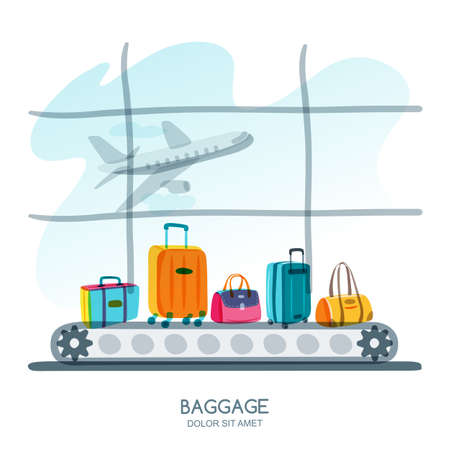 baggage: Multicolor luggage, suitcase, bags on train in airport terminal. Vector hand drawn illustration. Luggage carousel against airport  with taking off plane. Travel and tourism concept.