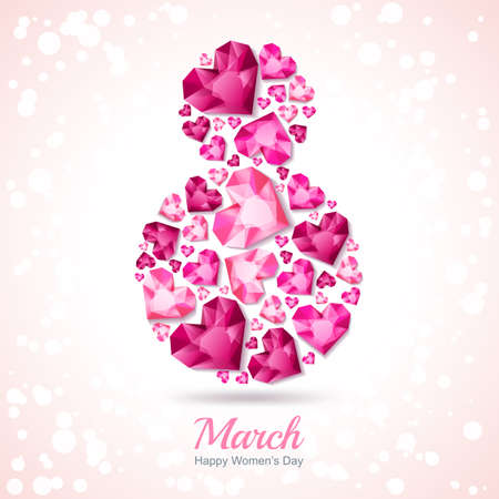 8 March vector greeting card, International Womens Day. Number eight with 3d pink heart diamonds, gems, jewels. Concept for holiday banner, poster, party invitation background. Illustration