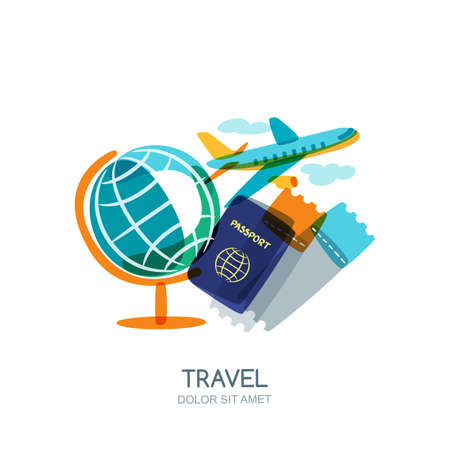 Travel and tourism concept. Multicolor globe, passport, airplane tickets and flying plane. Vector doodle isolated illustration. Trendy flat design for summer vacation.