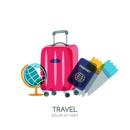 Travel and tourism concept. Multicolor globe, luggage suitcase, passport and airplane tickets. Vector doodle isolated illustration. Trendy flat design for summer vacation.
