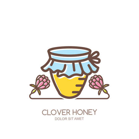 Outline honey pot vector logo, emblem or icon. Linear jar and clover flowers isolated on white background. Concept for organic clover honey package design. Logo