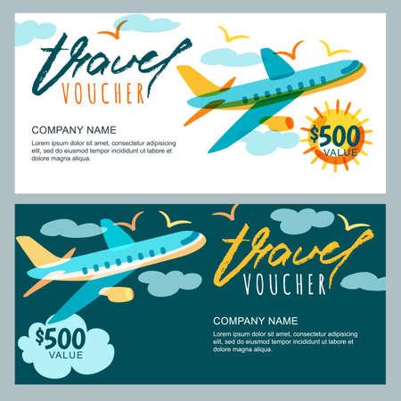 Plantilla de vales de viaje de regalo de vector. Multicolor volando avión en el cielo. Concepto para vacaciones de verano, agencia de viajes y boleto de venta. Banner, cupón, certificado, folleto, disposición del boleto.