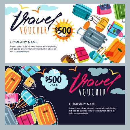 trip: Vector gift travel voucher template. Multicolor luggage, suitcase, bags  . Concept for summer vacation and travel agency. Banner, shop coupon, certificate or flyer layout.