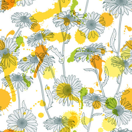 camomile tea: Vector seamless pattern with beautiful chamomile flowers and watercolor stains. Hand drawn sketch floral illustration. Spring design for fabric, textile print, wrapping paper or web backgrounds.