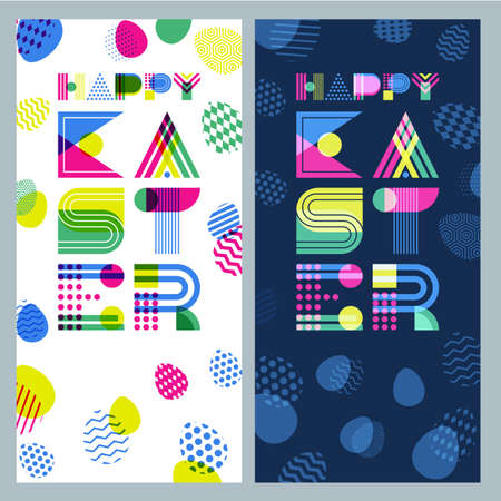 poster backgrounds: Happy Easter vector banner set. Geometric lettering and colorful Easter eggs. Overlapping creative backgrounds. Modern concept for holiday greeting cards, poster or flyer design. Illustration